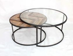 Ensemble de 2 tables basse Lo design Vendange Noir Bois LO00016448