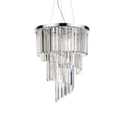 Lustre 12 lampes design Ideal lux Carlton Chrome Métal 166247