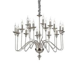Lustre 16 lampes design Ideal lux Artù Chrome Métal 073149
