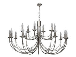 Lustre 18 lampes classique Cvl Chatelet Nickel Nickel Laiton massif LUCHAT18NI