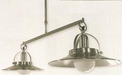 Lustre  2 lampes design Ryckaert Tridents Nickel Satiné Nickel satiné Laiton massif 10658/2E