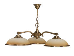Lustre 3 Lampes classique Cvl cluny Peche Laiton massif LUCLUN3BR3085P