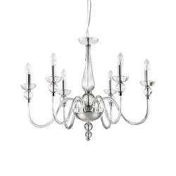 Lustre 6 lampes design Ideal lux Doge Transparent Verre 044422