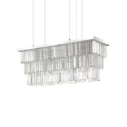 Lustre 6 lampes design Ideal lux Martinez Chrome Métal 166322