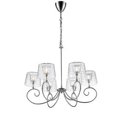 Lustre 6 lampes design Market set Glam Chrome Métal 590399