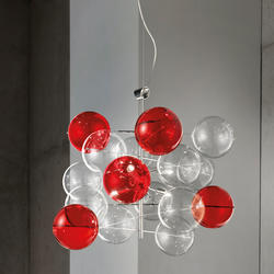 Lustre 6 lampes design Metal Lux Atom Chrome Métal 255.160.MC transparent/ rouge