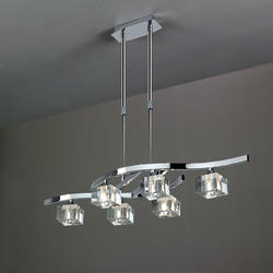Lustre 6 lampes design télescopique Mantra Cuadrax Chrome 0965