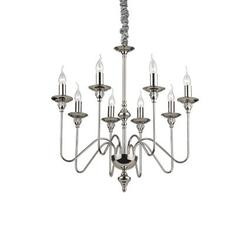 Lustre 8 lampes design Ideal lux Artù Chrome Métal 073156