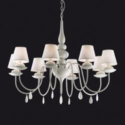 Lustre 8 lampes design Ideal lux Blanche Blanc 035574