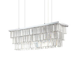 Lustre 8 lampes design Ideal lux Martinez Chrome Métal 166360