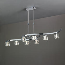 Lustre 8 lampes design télescopique Mantra Cuadrax Chrome 0966