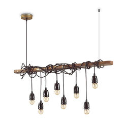 Lustre 8 lampes industriel Ideal lux Electric Marron Métal 176369