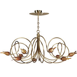 Lustre 9 lampes classique Cvl Hypnos Bruni Laiton massif LUHYPN9BRL600A