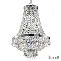 Lustre 9 lampes design Ideal lux Caesar Chrome cristal 041827