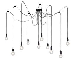 Suspension 10 lampes design Lucide Noir Plastique 08408/10/30
