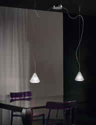 Suspension 2 lampes design Morosini Karat Chrome Métal - Verre 0903SO04SAAL