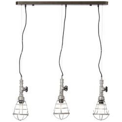 Suspension 3 lampes Brilliant Antique Métal - Tissus 93705/43