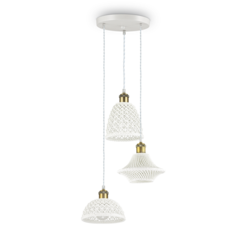Suspension 3 lampes design Ideal lux Lugano Blanc Céramique 206875
