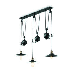 Suspension 3 lampes design Ideal lux Up And Down Noir Métal 136349