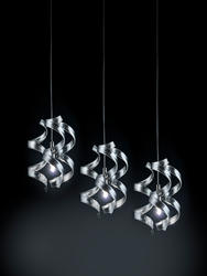 Suspension 3 lampes design Metal Lux Astro Chrome Verre 206.503.15