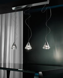 Suspension 3 lampes design Morosini Karat Chrome Métal - Verre 0900SO04CTAL