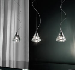 Suspension 3 lampes design Morosini Karat Chrome Métal - Verre 0904SO04CTAL