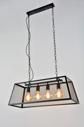 Suspension 4 lampes design Corep Stock Noir Métal 651370
