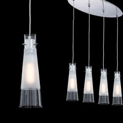 Suspension 4 lampes design Ideal lux Kuky Chrome 023038