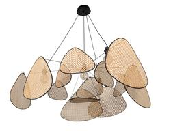 Suspension 4 lampes design Market set Screen Beige Métal 655173