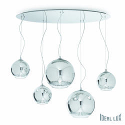 Suspension 5 lampes design Ideal lux Discovery Chrome Métal 059655