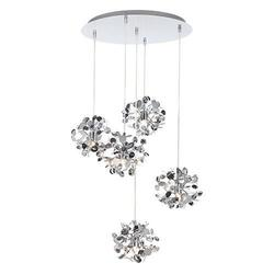 Suspension 5 lampes design Lo Destock Chrome Métal HERMS-5HR