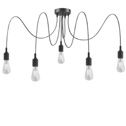 Suspension 5 lampes design Lucide Noir Plastique 08408/05/30