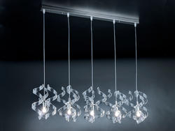 Suspension 5 lampes design Metal Lux Astro Chrome Verre 206.505.01