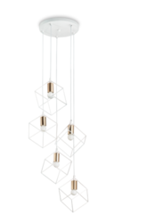 Suspension 5 lampes industrielle Ideal lux Ice Blanc / Or Métal 237671