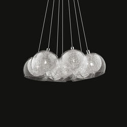 Suspension 7 lampes design Ideal lux Cin cin Aluminium Verre 060231