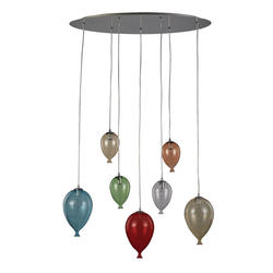 Suspension 7 lampes design Ideal lux Clown 100937
