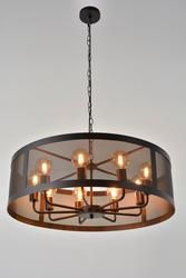 Suspension 9 lampes design Corep Stock Noir Métal 651371