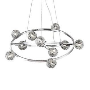 Lustre 10 lampes design Ideal lux Orbital Chrome Aluminium 073828