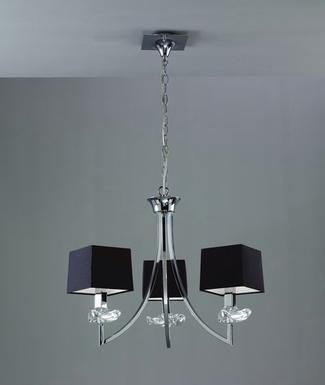 lustre 3 lampes avec abats jours mantra akira chrome m tal 0783 lustres design chez luminaires. Black Bedroom Furniture Sets. Home Design Ideas