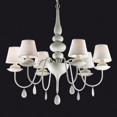 Lustre 6 lampes design Ideal lux Blanche Blanc 035581