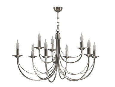 Lustre 9 lampes classique Cvl Chatelet Nickel Nickel Laiton massif LUCHAT9NI