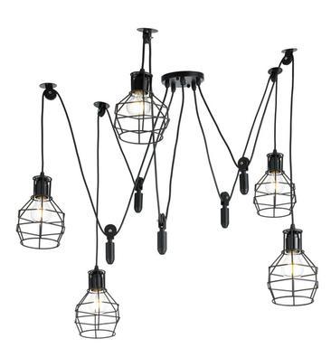 Lustre Industriel 5 Lampes Lo Design Geôle Noir Métal Lo00013880