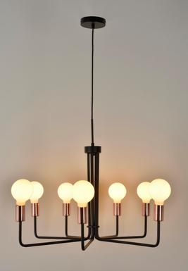 lustre industriel market set spider noir m tal 650895 lustres industriels chez luminaires online. Black Bedroom Furniture Sets. Home Design Ideas