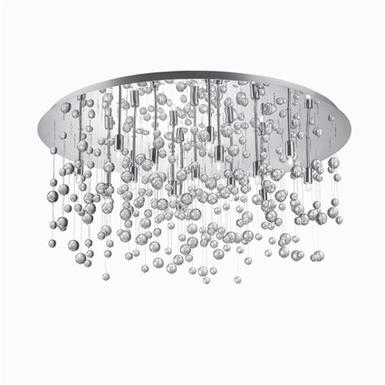 Plafonnier 15 Lampes design Ideal lux Neve Chrome Acier 030784