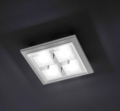 Plafonnier 4 lampes Grossmann Domino Led Nickel mat Acier 76-272-063