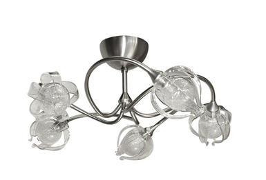 Plafonnier 5 lampes design Cvl pompei Nickel satiné Laiton massif PLPOMP5NIPHY5C