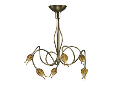 Plafonnier 6 lampes Design Cvl POONA Laiton massif POONA 6L Nickel L600 Claire