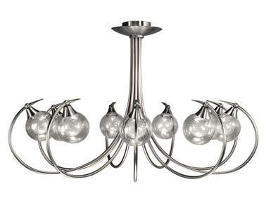plafonnier 9 lampes design Cvl Osiris Nickel satiné Laiton massif OSIRIS 9L Nickel S100