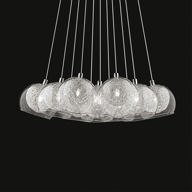 Suspension 11 lampes design Ideal lux Cin cin Aluminium Verre 060224