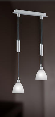 Suspension 2 lampes design Wofi Savannah Nickel Métal 7722.02.64.0006
